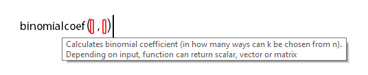 Function tooltip