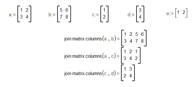 Join matrix columns function