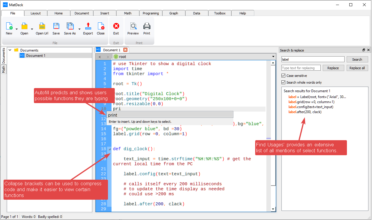 MD Python interactive learning environment