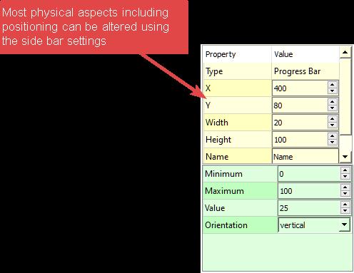 MatDeck GUI Designer element properties