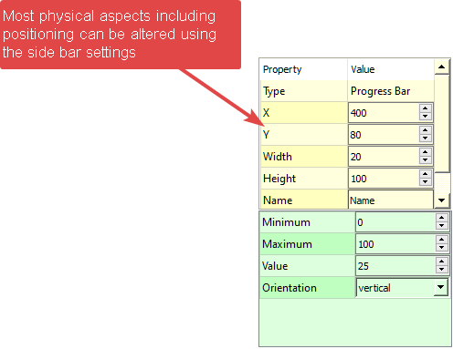 MatDeck GUI Designer element properties