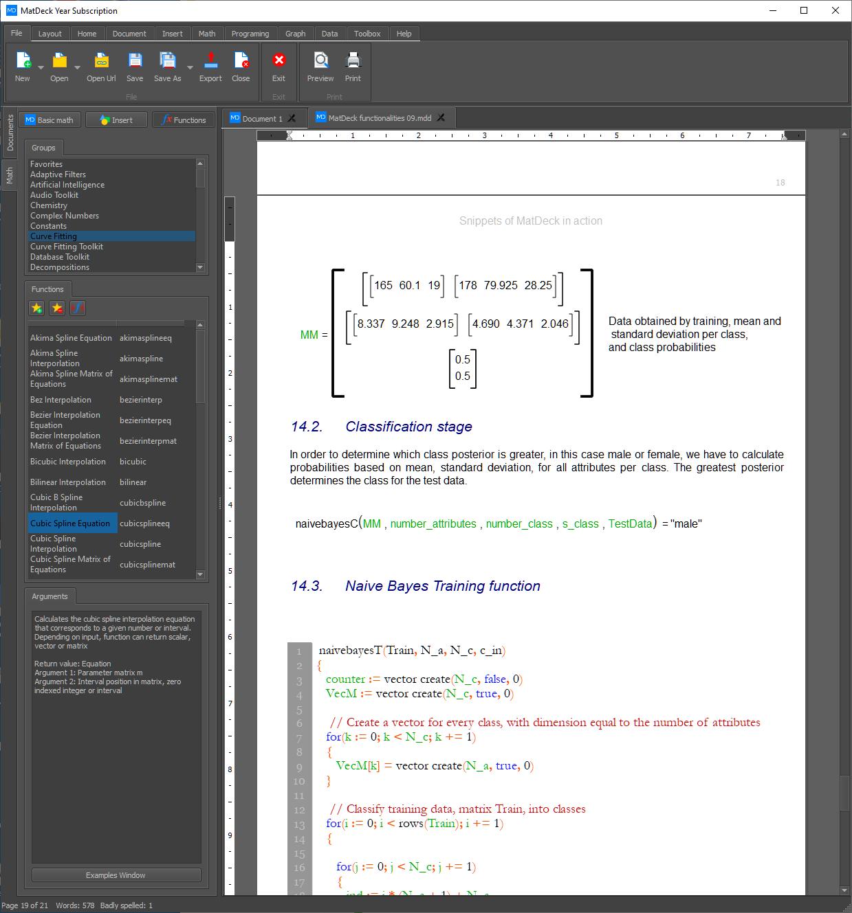 Naive Bayes Training function