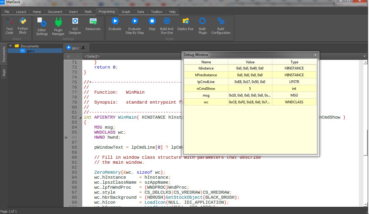 C IDE debug