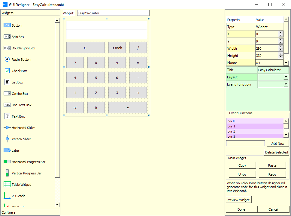calculator c stile script gui designer