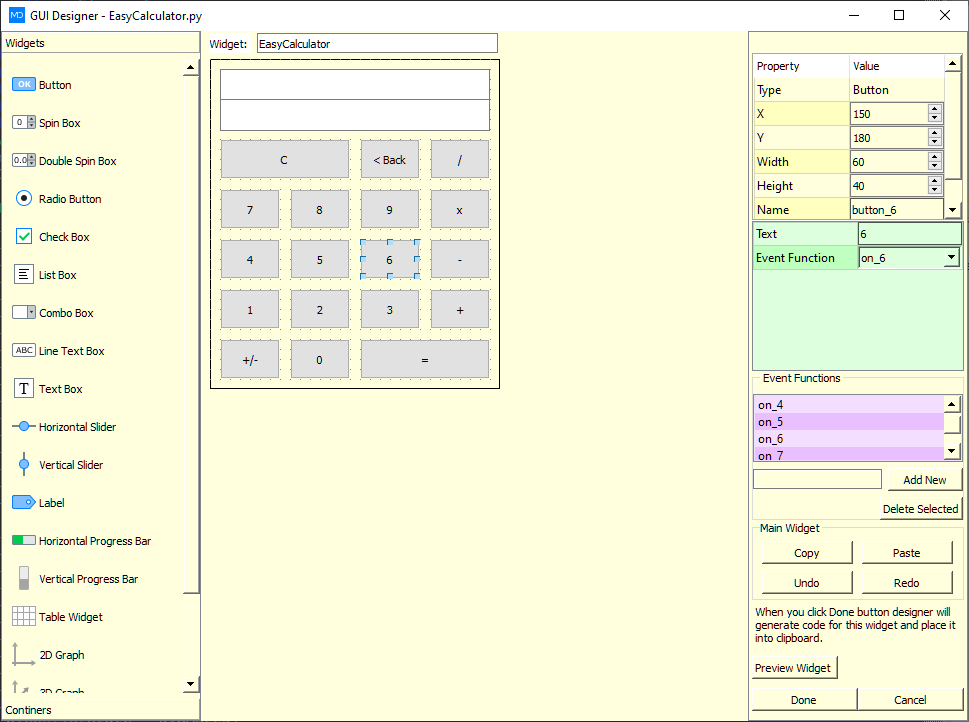 calculator python gui designer