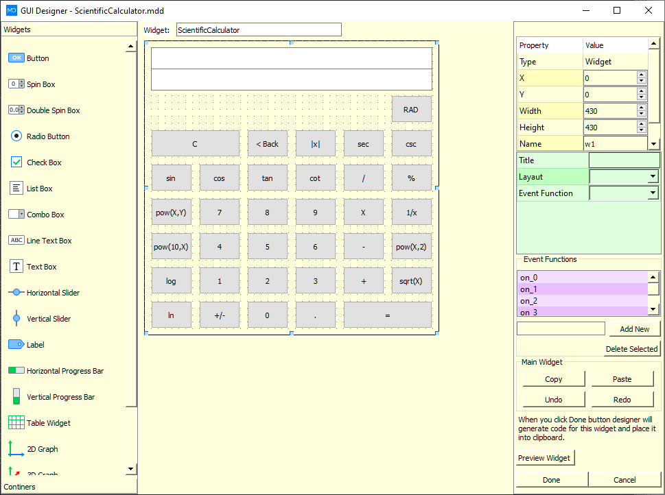 scientific calculator c style script md python gui designer