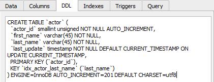 ddl table script