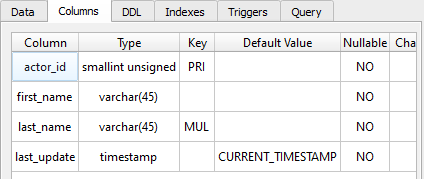 table definition column properties