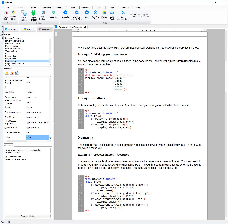 Python blocks in MD document
