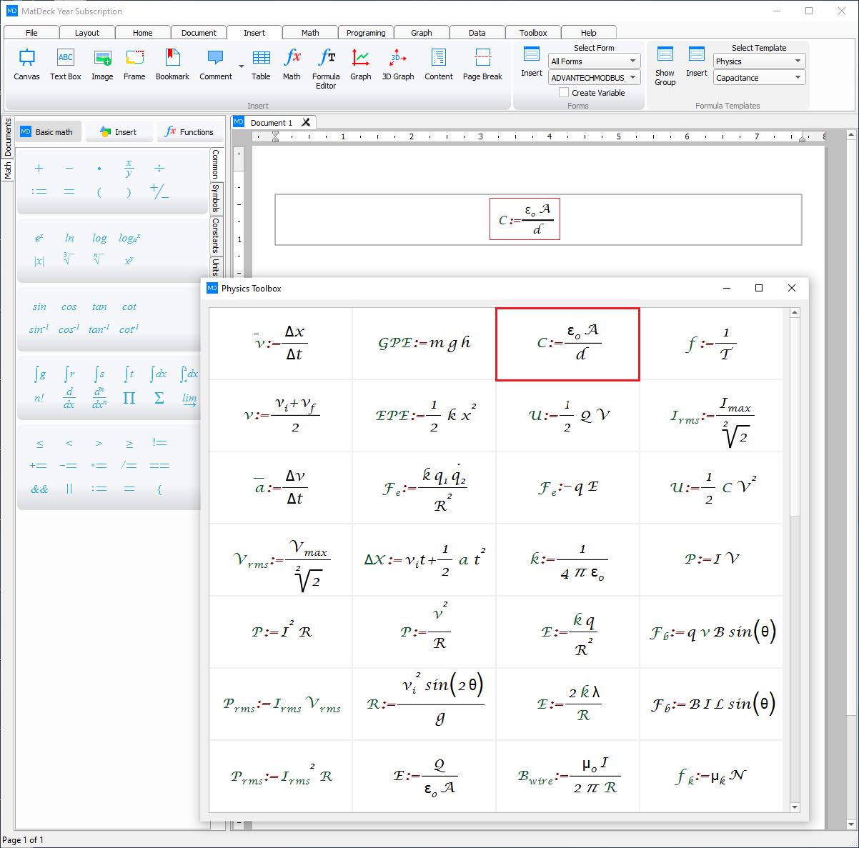 chemistry formula templates